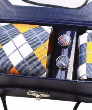 Kravatový set z hodvábu - viazanka + manžety + vreckovka - vzor07