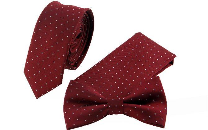 Pánsky set červený - kravata a motýlik s vreckovkou
