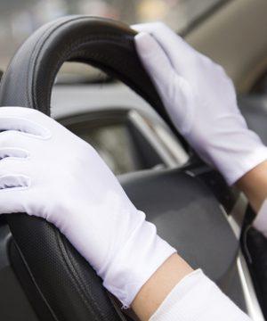 Kvalitné biele rukavice - unisex