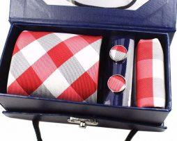 Kravatový set z hodvábu - viazanka + manžety + vreckovka - vzor08