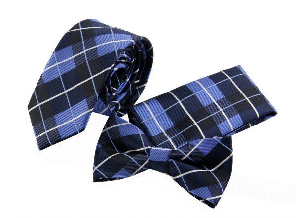 Pánsky set modrý - kravata a motýlik s vreckovkou