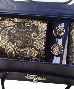 Kravatový set z hodvábu - viazanka + manžety + vreckovka - vzor01