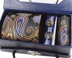 Kravatový set z hodvábu - viazanka + manžety + vreckovka - vzor02