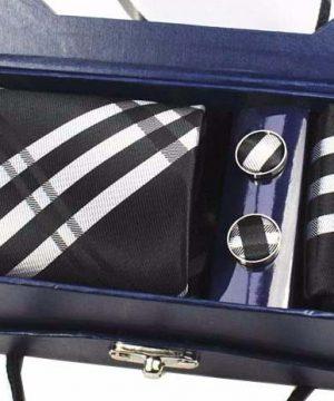 Kravatový set z hodvábu - viazanka + manžety + vreckovka - vzor04