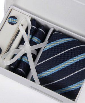 Luxusný kravatový set C- kravata + vreckovka + manžety + spona