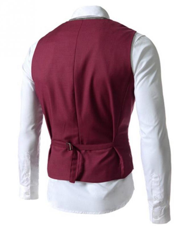 Kvalitná dvojitá pánska vesta ku obleku v červenej farbe