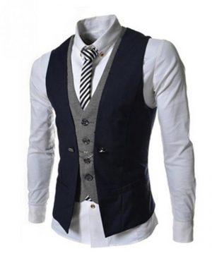 Kvalitná dvojitá pánska vesta ku obleku v modrej farbe