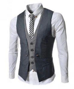 Kvalitná dvojitá pánska vesta ku obleku v sivej farbe