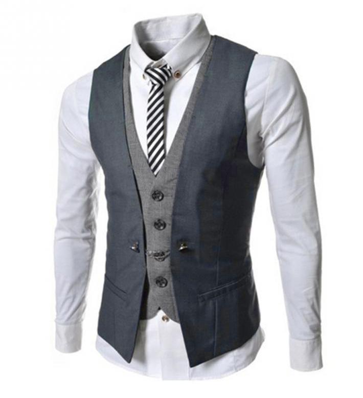 52ea916735ad Kvalitná dvojitá pánska vesta ku obleku v sivej farbe