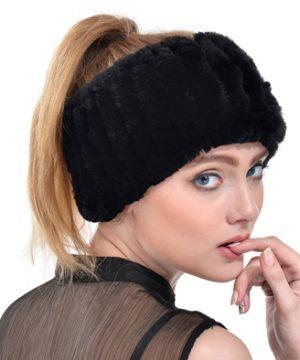 Zimná dámska čelenka zo zajačej kožušiny