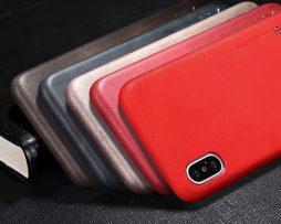 Luxusný tenký kožený obal na iPhone X - 4 farby