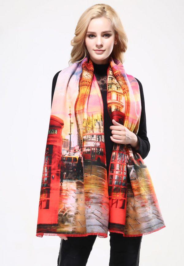 Ručne tkaný šál z kašmíru s motívom Londýn