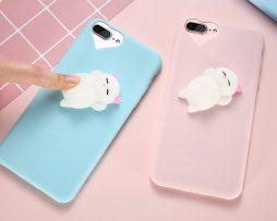 Silikónový obal s roztomilou ozdobou na iPhone - mačiatko + srdce