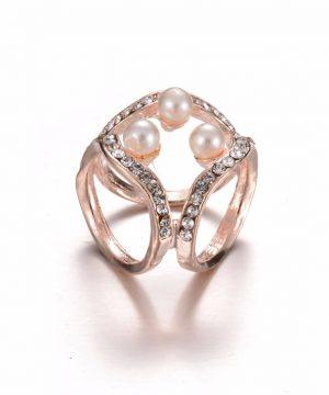 Prsteň na šatku - luxury s perlami