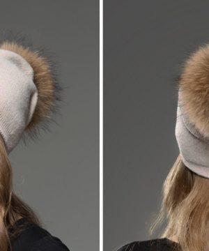 Dámska čiapka z kašmíru s brmbolcom z líšky svetlo ružová