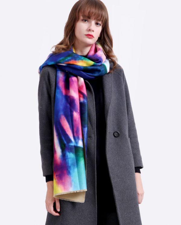 Ručne tkaný šál z kašmíru v pestrých farbách - modrý