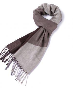 Kvalitný kašmírový šál v hnedo-sivej farbe