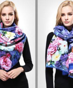 Ručne tkaný šál z kašmíru s motívom kvetov model 04