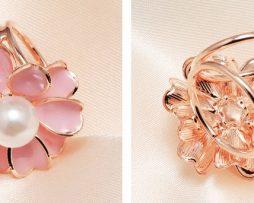 Prsteň na šatku – Biela perla - ružový