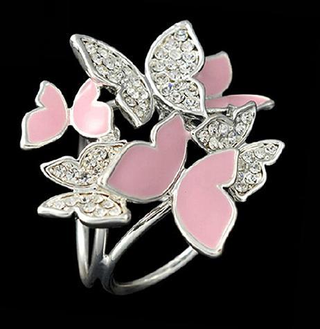 Luxusná brošňa so strieborno - ružovými motýľmi s kryštálmi