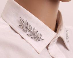 Luxusné spony na golier v tvare vetvičiek