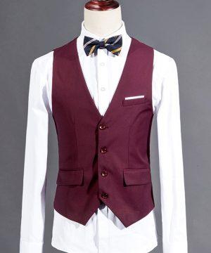 Štýlová pánska vesta ku obleku v tmavo bordovej farbe