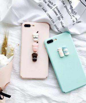 Silikónový obal s roztomilou ozdobou na iPhone - coffee