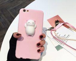 Silikónový obal s roztomilou ozdobou na iPhone - mačiatko