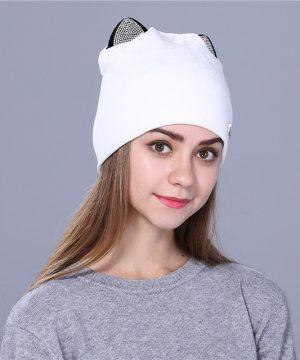 Luxusná dámska čiapka z flanelu s uškami