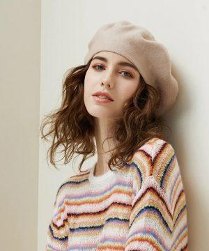 Dámska elegantná baretka z vlny a bavlny v rôznych farbách