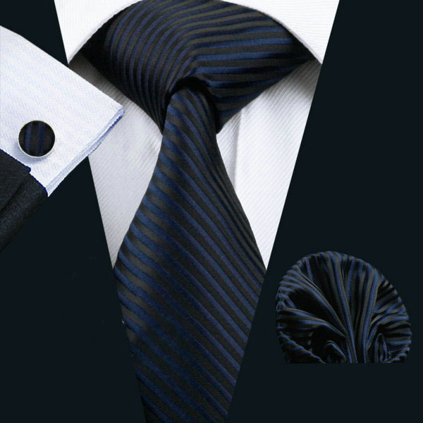 Elegantný kravatový set Bary - kravata + manžety + vreckovka , č.5