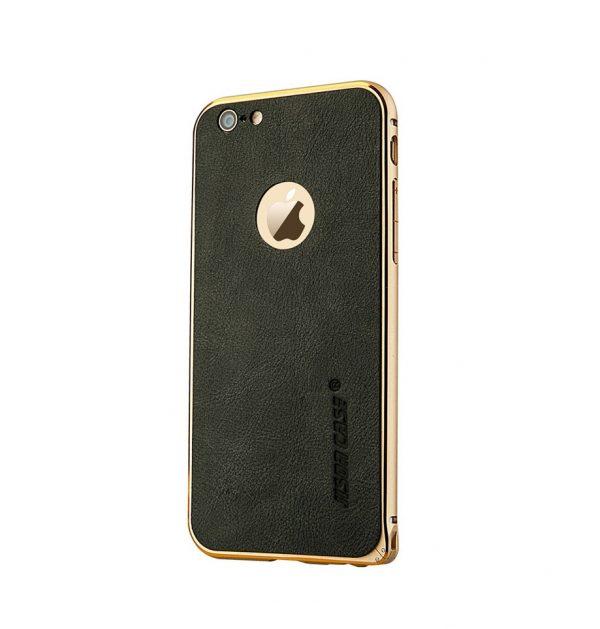 Hliníkový bumer s koženou zadnou fóliou JISONCASE pre iPhone 6 / 6S
