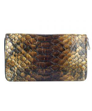 Luxusná kožená peňaženka so vzorom hadej kože č.8606 v hnedej farbe