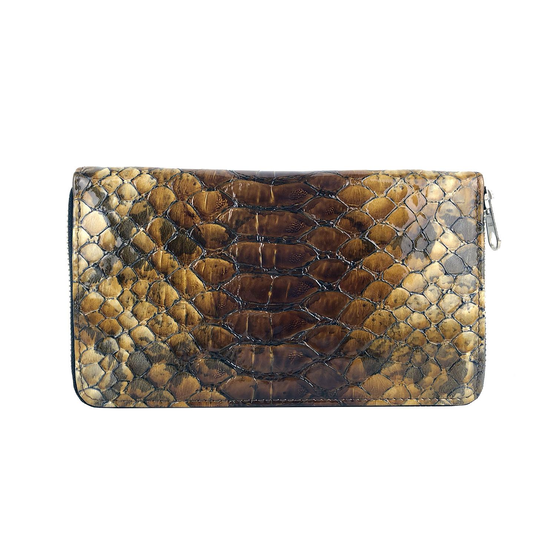11afc74369 Luxusná kožená peňaženka so vzorom hadej kože č.8606 v hnedej farbe ...