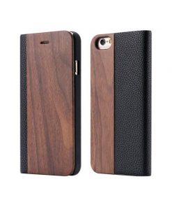 Knižkové drevené púzdro na iPhone 7 Plus z tmavého dreva