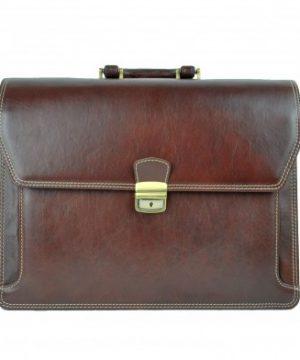 Luxusná kožená aktovka z pravej hovädzej kože č.8418 v hnedej farbe