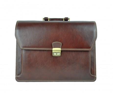 d2ad5179cd Luxusná kožená aktovka z pravej hovädzej kože č.8418 v hnedej farbe ...