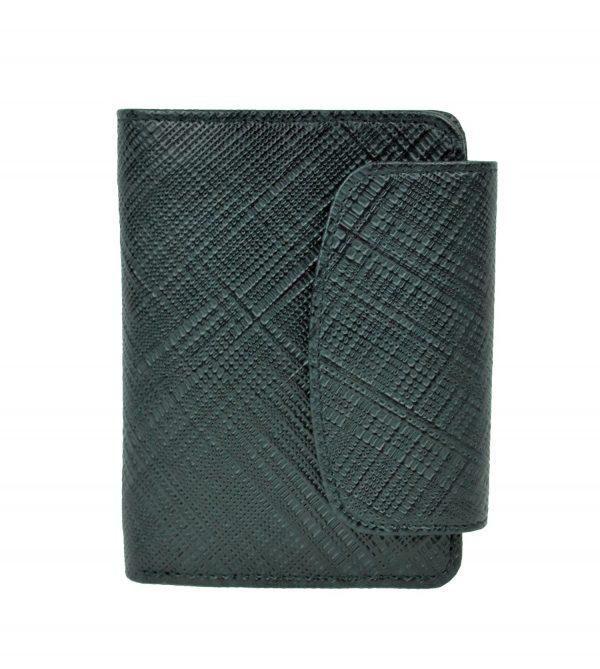 Luxusná kožená peňaženka s mriežkovaným dekorom č.8511-1 v čiernej farbe