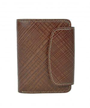 Luxusná kožená peňaženka s mriežkovaným dekorom č.8511-1 v hnedej farbe