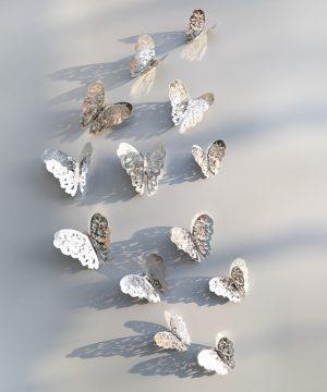 Kreatívne nálepky na stenu z PVC - MOTÝLE STRIEBORNÉ VZOR.1 - 12 kusov