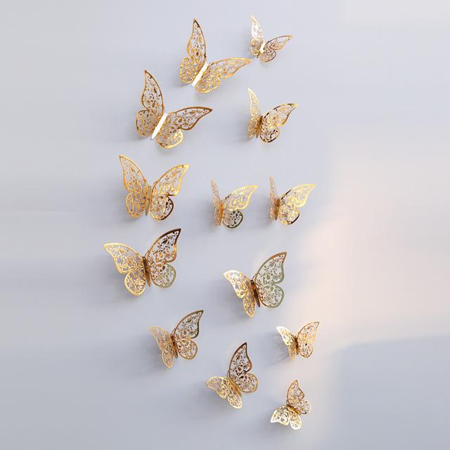 Kreatívne nálepky na stenu z PVC - MOTÝLE ZLATÉ VZOR.3 - 12 kusov
