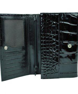 Luxusná lakovaná kožená peňaženka č.8542 v čiernej farbe
