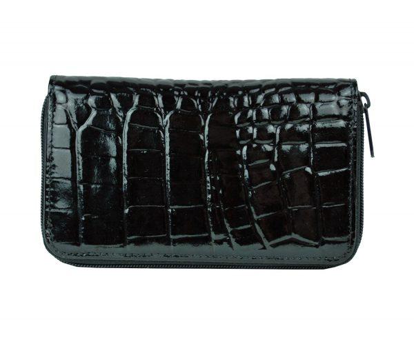 Luxusná lakovaná kožená peňaženka č.8627 v čiernej farbe
