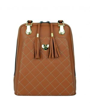 Luxusný kožený ruksak z pravej hovädzej kože č.8668 v horčicovej farbe (2)