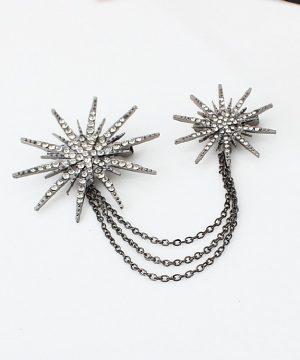 Luxusná dvojitá brošna v tvare hviezd s kryštálikmi