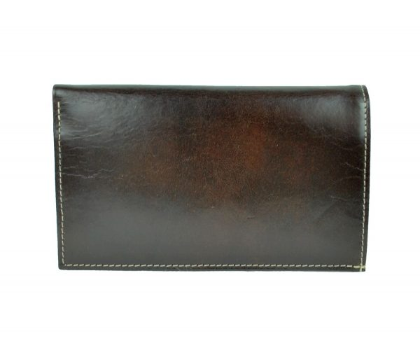 Luxusná elegantná kožená dokladovka č.8203 v tmavo hnedej farbe