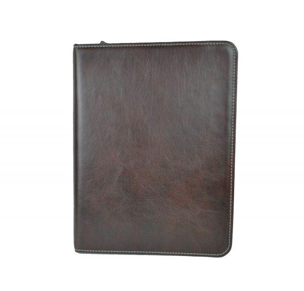 Luxusná elegantná kožená spisovka č.8673 v hnedej farbe
