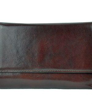Luxusná elegantná peňaženka z pravej kože č.8559 v tmavo hnedej farbe