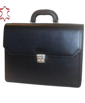 Luxusná kožená aktovka z pravej hovädzej kože č.7898 v čiernej farbe