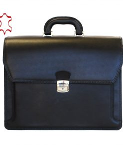 Luxusná kožená aktovka z pravej hovädzej kože č.8418 v čiernej farbe